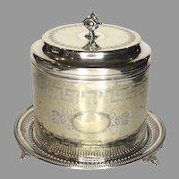 19th Century Silver Plate Biscuit Barrel