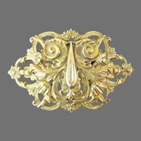 Vintage Large Repousse Brooch Pin Elaborate