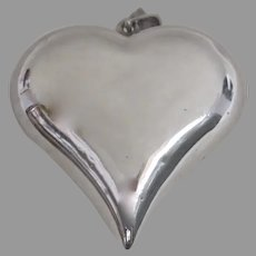 Large Vintage Sterling 925 Puffy Heart Pendant