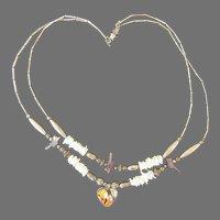 Vintage Two Strand Necklace Zuni Fetish Heart