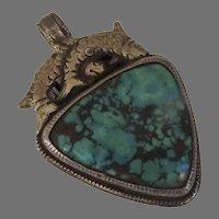 Large Tibetan Silver Turquoise Vintage Pendant
