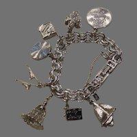 Vintage Silver Tone Charm Bracelet by Monet