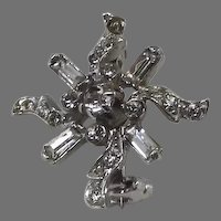 Vintage Pinwheel Star Rhinestone Pin Brooch Signed Bagettes