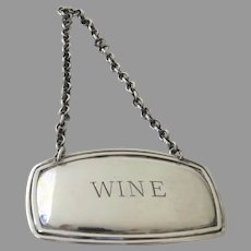 """Vintage Silver Plated Decanter Tag Label """"Wine"""" Made in England"""