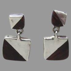 Vintage Adan Alvarado Earrings Wood Sterling Mexico