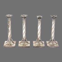 Set of Four Sheffield Plate Corinthian Column Candlesticks with Rams Heads