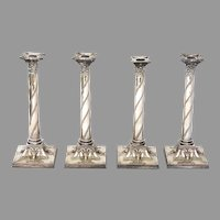 Set of Four Sheffield Plate Corinthian Column Candlesticks with Rams Heads