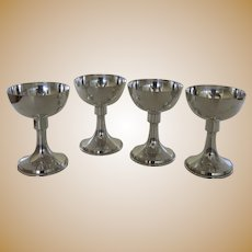 Extremely Stylish Set of 4 Silver Plated Goblets Cups Glasses by Wettergren Furer Co. New York 1910