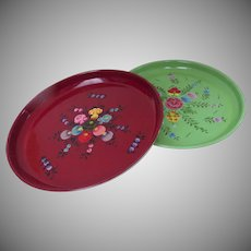 "Two Vintage Enamel Small Round Trays 8"" Floral Flowers Charming and Useful"
