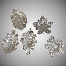 Five (5) Vintage R. Blackington & Co. Sterling Silver Leaf Dishes