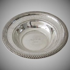 1950's Vintage Sterling Silver Small Bowl with Pierced Border 57 Grams