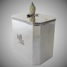 Vintage 1950's English Silver Plate Tea Caddy Pineapple Finial Engraved Lion