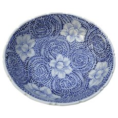 Vintage Blue and White Ceramic Bowl with Swirl Pattern Notched Edge