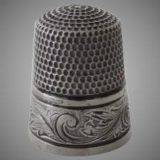 19th Century Sterling Silver Thimble  Size 8 Simons Brothers