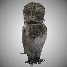 Vintage Silver Plate Owl Pepper Salt Shaker Pot As Is Figurine