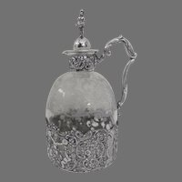 1890's German Germany Sterling Silver Overlay Etched Glass Decanter