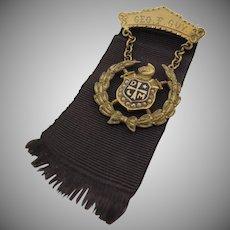 Vintage 10K Gold Demolay Ribbon Pin Masonic