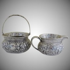 1900's Sterling Silver Repousse Large Creamer Sugar Whiting Manufacturing Co.