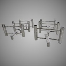 """Set of 6 """"Log Fence"""" Silver Plated Individual Bud Vases Name Markers Novelty"""