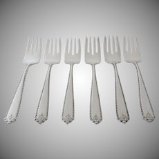6 x Vintage Sterling Silver Dessert Salad Forks by Westmorland in the Lady Hilton Pattern