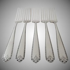 5 x Vintage Sterling Silver Dinner Knives by Westmorland in the Lady Hilton Pattern