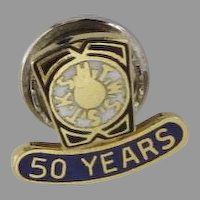 Vintage Lapel Pin Masonic Blue Enamel KSHTWSST 50 Years Sterling