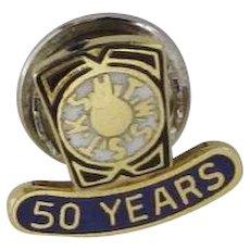 Vintage Lapel Pin Masonic Blue Enamel KSHTWSST 50 Years Sterling
