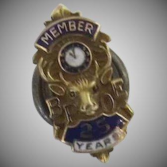 Gold Tone Enamel Elks Club BPOE Lapel Pin Member 25 Years Clock