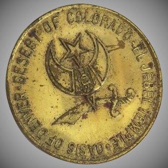 """Vintage 1964 """"El Jebel Temple Oasis of Denver Token Coin"""