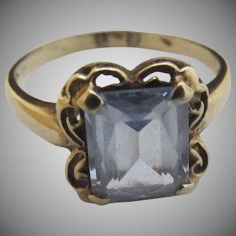 Vintage 10K Gold Aquamarine Ring