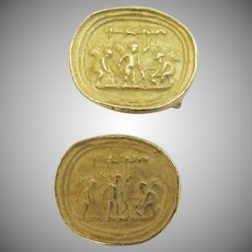 Pair of Vintage Gold Plated Oval Cufflinks Ancient Greek Motif