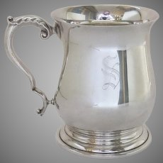 """Vintage Georgian Style Silver Plate Tankard Cup with Engraved """"S"""" by Pinder Bros. Sheffield, England"""