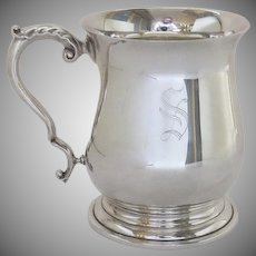 "Vintage Georgian Style Silver Plate Tankard Cup with Engraved ""S"" by Pinder Bros. Sheffield, England"