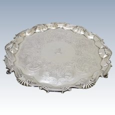 Sterling Silver English Salver Tray Footed George II William & Robert Peaston, London, 1752