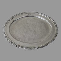 English Old Fused Sheffield Oval Platter Tray Engraved Crest Armorial