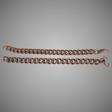 Two Vintage Men's Copper Wide Chain Bracelets