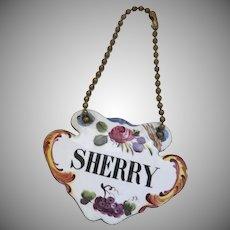 "Large Enamel ""Sherry"" Decanter Tag"