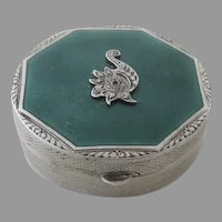 Art Deco Sterling Enamel Engine Turned Guilloche Small Snuff Pill Box Compact