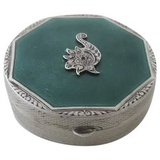 Art Deco Sterling Enamel Engine Turned Guilloche Small Snuff Pill Box Compact