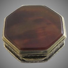 1920's Vintage Gold Wash 800 Silver Pill Box Made in Italy