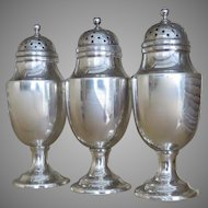 Set of Three Sterling Silver Fully Hallmarked English Pepper Pots Pepperettes Casters by Mathew Boulton c 1810