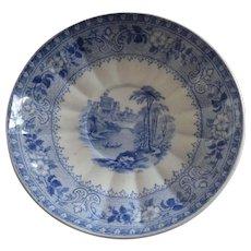 J Ridgway Baronial Castles Windsor Castle Blue Transferware c 1848 Small Dish Plate Saucer