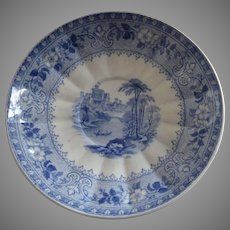 J Ridgway Baronial Castles Windsor Castle Blue Transferware c 1848 Small Dish Plate Saucer