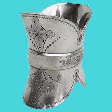 Late 19th Century Silver Plate Napkin Ring Unique Shape Helmet