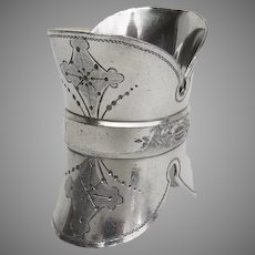 Late 19th Century Silver Plate Napkin Ring Unique Shape Helmet