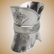 Victorian Silver Plate Napkin Ring Unique Shape Helmet