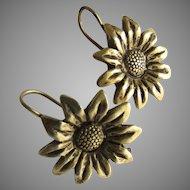 Vintage Cast Brass Sunflower Pierced Earrings