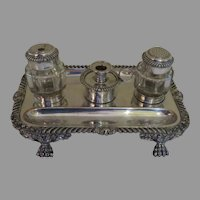English Fused Plate Old Sheffield Ink Stand Inkwell Sander