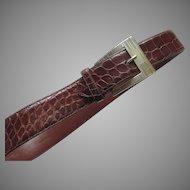 Vintage Ralph Lauren Belt Sterling Silver Buckle Alligator Made in Italy