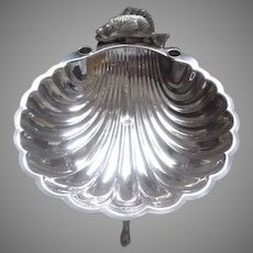 Vintage Large Sheridan Silverplate Footed Shell Oyster Clam Server with Fish and Candle Holders